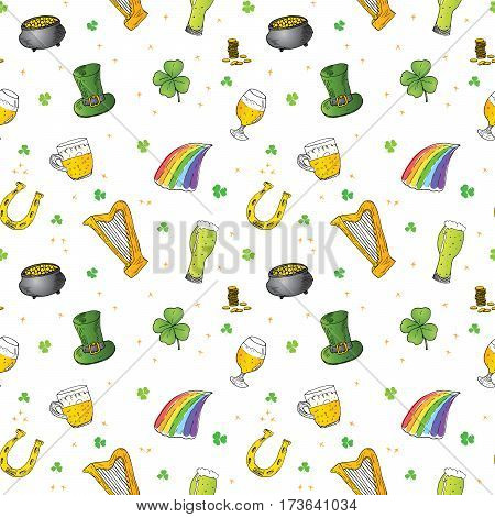 St Patrick's Day hand drawn doodle Seamless pattern with leprechaun hat pot of gold coins rainbow beer four leaf clover horseshoe celtic harp vector illustration background