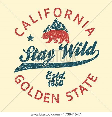 California vintage typography, grizzly Bear grunge print, Design for t-shirt. Golden State Clothing emblem. Vector