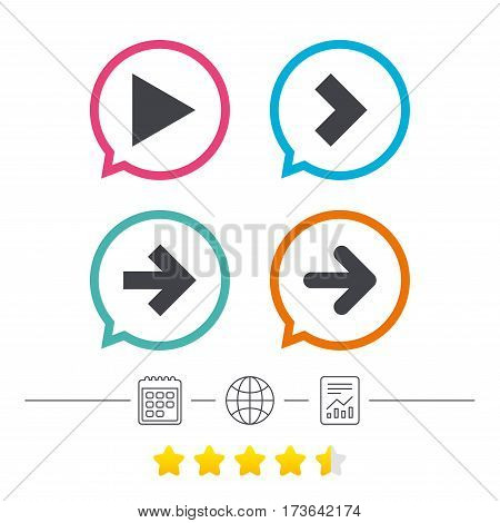 Arrow icons. Next navigation arrowhead signs. Direction symbols. Calendar, internet globe and report linear icons. Star vote ranking. Vector