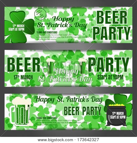 Happy St. Patrick's Day beer party vector banners on the white background with green leaves of clover text goblets of beer and cauldron.