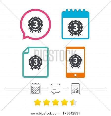 Third place award sign icon. Prize for winner symbol. Calendar, chat speech bubble and report linear icons. Star vote ranking. Vector