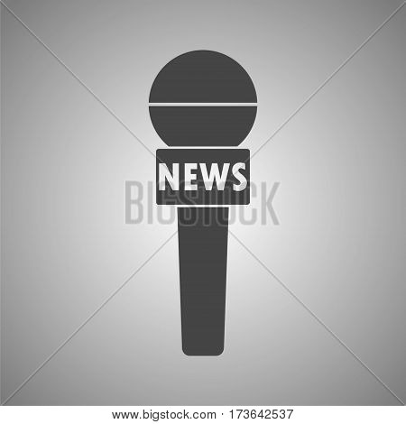 News reporter microphone icon, vector icon on gray background