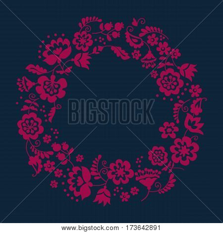 Simple floral decorative wreath inspired by Ukrainian folk culture. Monochrome red flower silhouette stylized in naive retro