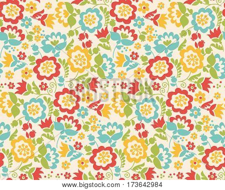 Retro style summer flower seamless pattern in pastel color. Floral folk style simple design for greeting cards, fabrick, background, wrapping paper. Stylish floral card in bright colors.