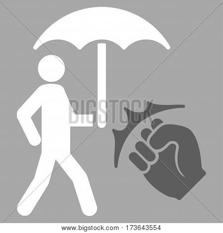 Crime Coverage vector icon. Flat bicolor dark gray and white symbol. Pictogram is isolated on a silver background. Designed for web and software interfaces.
