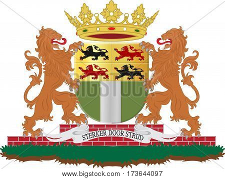 Coat of arms of Rotterdam is a city in South Holland the Netherlands located geographically within the Rhine-Meuse-Scheldt river delta at the North Sea. Vector illustration