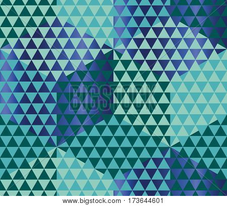 Geometry motif in lizard or snake skin style. Green seamless pattern vector illustration. Abstract triangle complex mosaic background for fabric, wrapping paper, backdrop