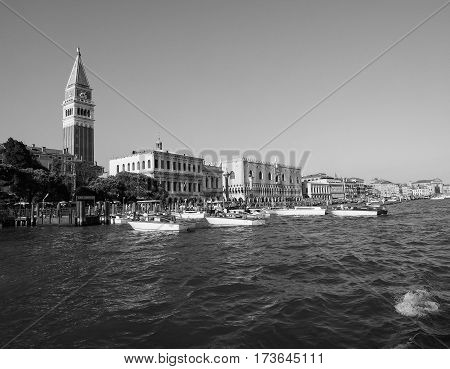 St Mark Square Seen Fron St Mark Basin In Venice In Black And White