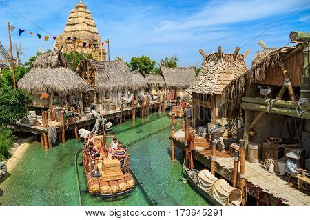 PORT AVENTURA/ SPAIN - MAY 11, 2015. Water attraction Angkor located in the China area of the theme park Port Aventura in Salou, Spain.