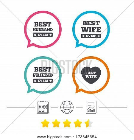 Best wife, husband and friend icons. Heart love signs. Award symbol. Calendar, internet globe and report linear icons. Star vote ranking. Vector