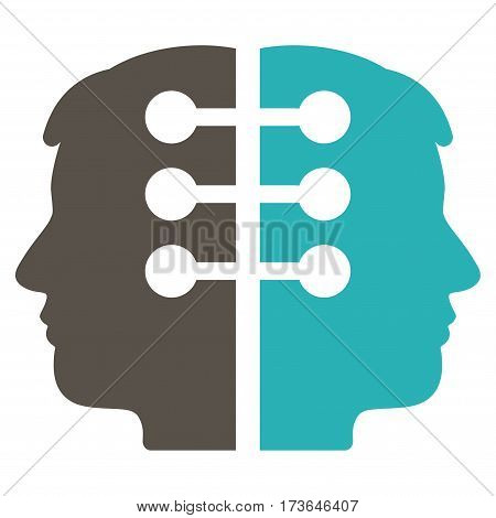 Dual Head Interface vector icon. Flat bicolor grey and cyan symbol. Pictogram is isolated on a white background. Designed for web and software interfaces.