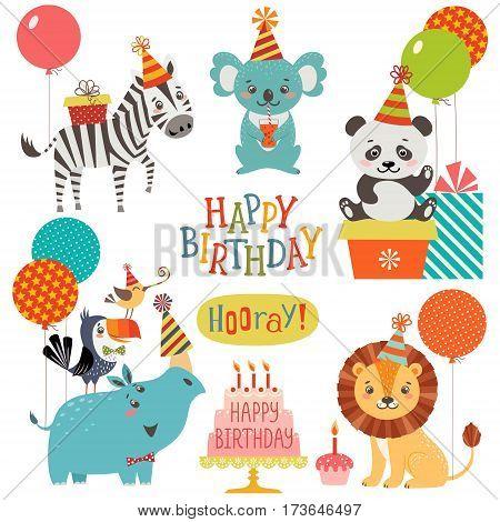 Set of cute animals for birthday design