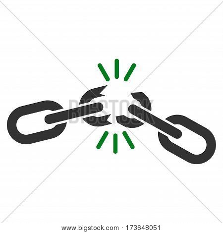 Chain Damage vector icon. Flat bicolor green and gray symbol. Pictogram is isolated on a white background. Designed for web and software interfaces.