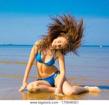 Beach Fun Splashing Beauty