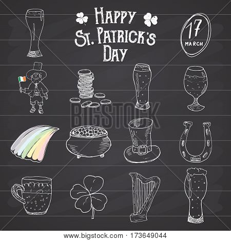St Patricks Day hand drawn doodle icons set with leprechaun pot of gold coins rainbow beer four leef clover horseshoe celtic harp and flag of Ireland vector illustration on chalkboard.