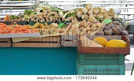 Organic Produce Food at Farmers Market Stall