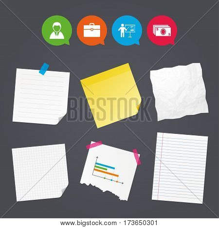 Business paper banners with notes. Businessman icons. Human silhouette and cash money signs. Case and presentation with chart symbols. Sticky colorful tape. Speech bubbles with icons. Vector