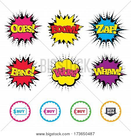 Comic Wow, Oops, Boom and Wham sound effects. Buy now arrow icon. Online shopping signs. Dollar, euro and pound money currency symbols. Zap speech bubbles in pop art. Vector