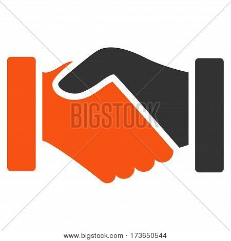 Acquisition Handshake vector icon. Flat bicolor orange and gray symbol. Pictogram is isolated on a white background. Designed for web and software interfaces.