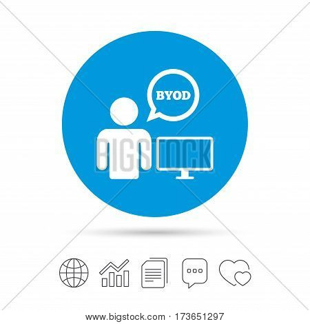 BYOD sign icon. Bring your own device symbol. User with monitor and speech bubble. Copy files, chat speech bubble and chart web icons. Vector