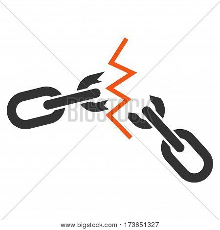 Broken Chain vector icon. Flat bicolor orange and gray symbol. Pictogram is isolated on a white background. Designed for web and software interfaces.