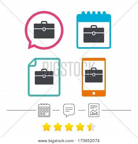 Case sign icon. Briefcase button. Calendar, chat speech bubble and report linear icons. Star vote ranking. Vector
