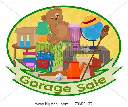 Cute clip art of different household items with garage sale text at the bottom. Eps10
