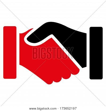 Acquisition Handshake vector icon. Flat bicolor intensive red and black symbol. Pictogram is isolated on a white background. Designed for web and software interfaces.