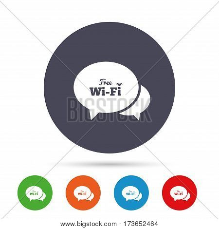 Chat speech bubbles. Free wifi sign. Wifi symbol. Wireless Network icon. Wifi zone. Round colourful buttons with flat icons. Vector