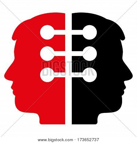 Dual Head Interface vector icon. Flat bicolor intensive red and black symbol. Pictogram is isolated on a white background. Designed for web and software interfaces.