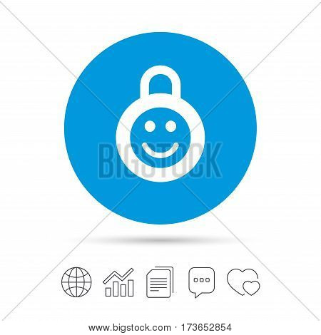 Child lock icon. Locker with smile symbol. Child protection. Copy files, chat speech bubble and chart web icons. Vector