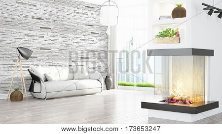Beautiful modern living room interior with fireplace. 3D rendering