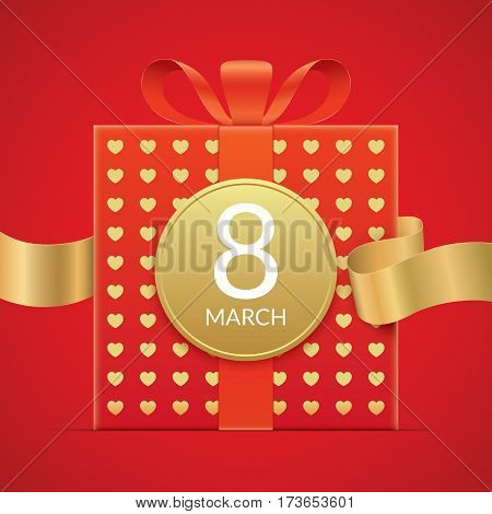 8 march greeting card template, with red gift box with golden elements and ribbon. International womens day greeting car design.