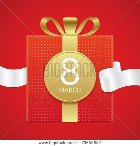 8 march greeting card template, with red gift box with golden elements and white ribbon. International womens day greeting car design.
