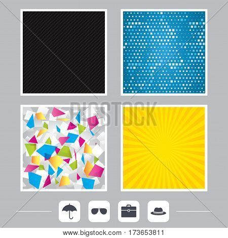 Carbon fiber texture. Yellow flare and abstract backgrounds. Clothing accessories icons. Umbrella and sunglasses signs. Headdress hat with business case symbols. Flat design web icons. Vector