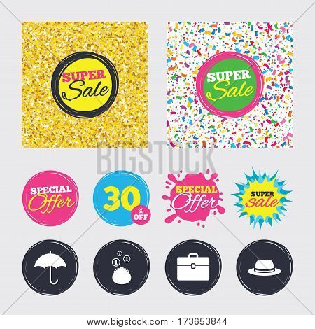 Gold glitter and confetti backgrounds. Covers, posters and flyers design. Clothing accessories icons. Umbrella and headdress hat signs. Wallet with cash coins, business case symbols. Sale banners