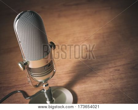 Retro microphone on the table with space for text. Vintage style background. 3d illustration