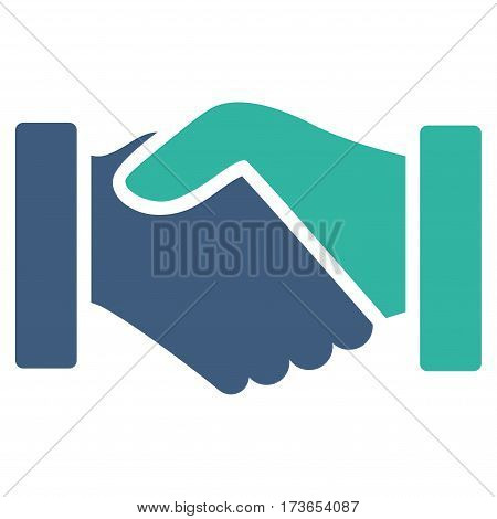 Acquisition Handshake vector icon. Flat bicolor cobalt and cyan symbol. Pictogram is isolated on a white background. Designed for web and software interfaces.