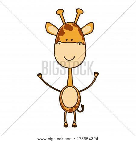color sticker girafe icon, vector illustraction design image