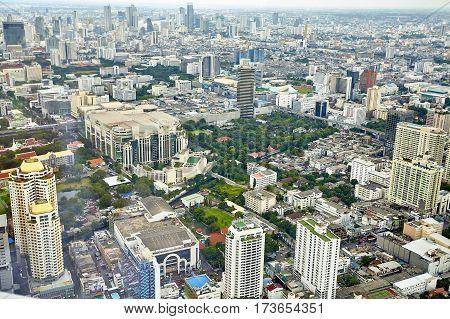 Top view city skyscrapers street, Bangkok , Thailand