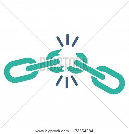 Chain Damage vector icon. Flat bicolor cobalt and cyan symbol. Pictogram is isolated on a white background. Designed for web and software interfaces.
