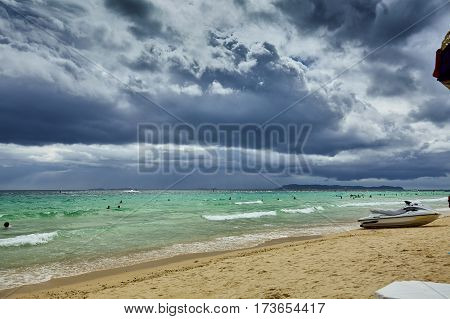THAILAND boat sea sky beach beautiful sky before the storm