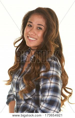 Beautiful Young Filipino Woman Smiling on a White Background.