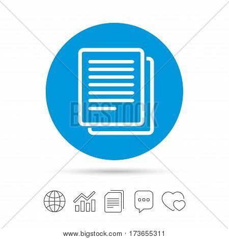 Copy file sign icon. Duplicate document symbol. Copy files, chat speech bubble and chart web icons. Vector