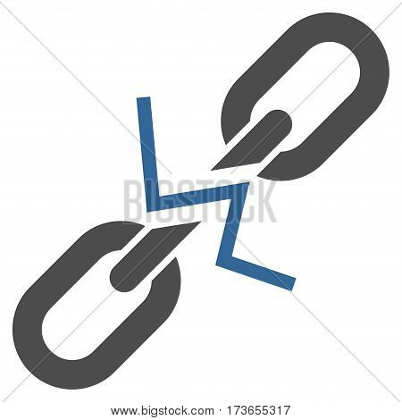 Broken Chain Link vector icon. Flat bicolor cobalt and gray symbol. Pictogram is isolated on a white background. Designed for web and software interfaces.