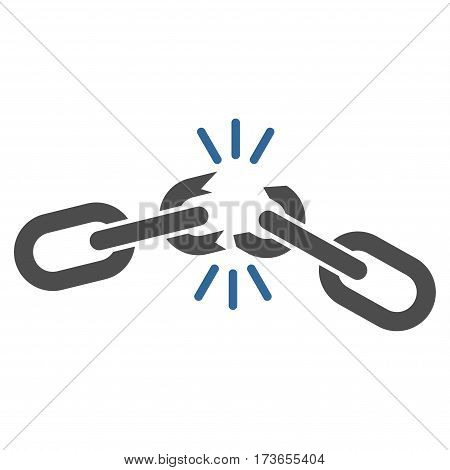 Chain Damage vector icon. Flat bicolor cobalt and gray symbol. Pictogram is isolated on a white background. Designed for web and software interfaces.