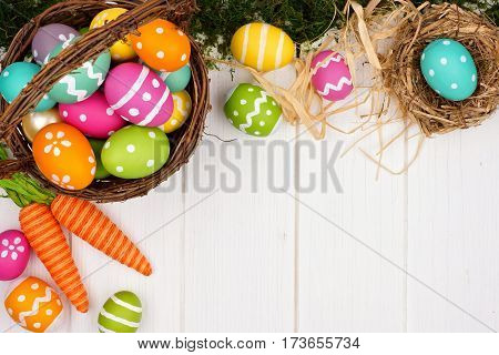 Colorful Easter Or Spring Decor Corner Border Over A White Wood Background