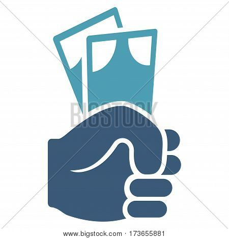 Banknotes Salary Hand vector icon. Flat bicolor cyan and blue symbol. Pictogram is isolated on a white background. Designed for web and software interfaces.