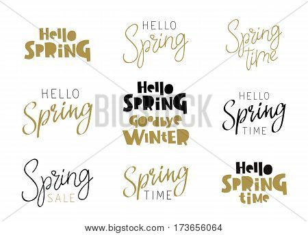 Set of quotes - Hello Spring. Calligraphy and lettering. Vector illustration on white background. Elements for design.
