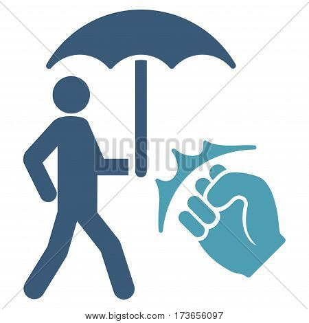 Crime Coverage vector icon. Flat bicolor cyan and blue symbol. Pictogram is isolated on a white background. Designed for web and software interfaces.